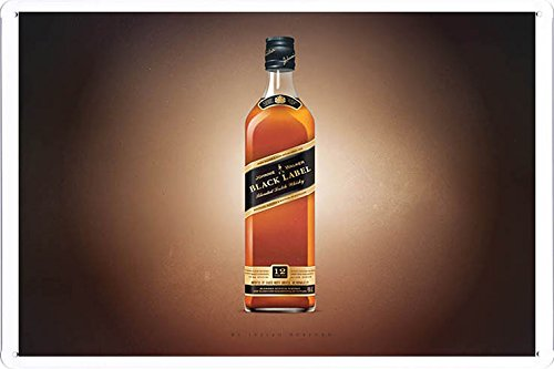 """Tin Sign Metal Poster Plate (8""""x12"""") of Johnnie Walker Whiskey Only Black Label by Food & Beverage Decor Sign"""