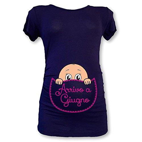 a Maglia Blu in T Arrivo Premaman Natale Shirt Babloo Femminuccia Giugno CxwAFqfpF