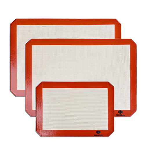 - ATPWONZ Thick Silicone Baking Mat 2 Large Half Sheet Liners (11 5/8