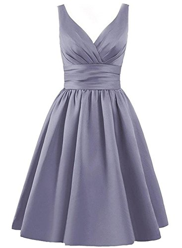 Gray Bridesmaid Short XingMeng Cocktail Pleated Dress V neck Gowns Prom Dresses TwBq17Fw