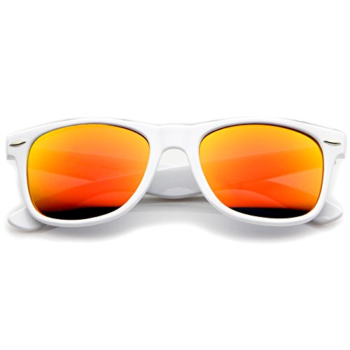 f70dc04fb8b Hipster Fashion Flash Color Mirror Lens Horn Rimmed Style Sunglasses ...