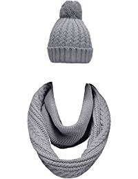 Women Winter Thick Knit Infinity Loop Scarf And Pom Pom Beanie Hat Set