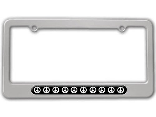 - Graphics and More Peace Signs License Plate Tag Frame - Color Silver