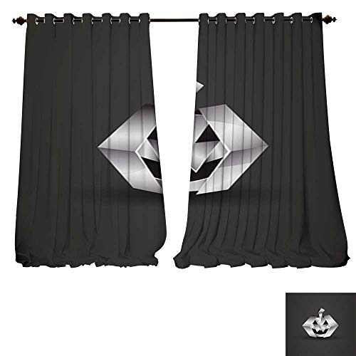 DESPKON-HOME Thermal Insulating Blackout Curtain Chrome Origami Halloween Pumpkin Pocket Insulated Tie Up Curtains -W108 x L84/Pair