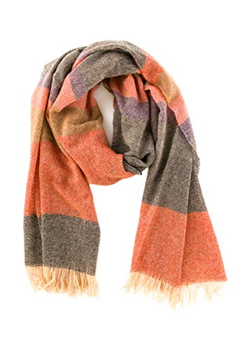 Angiola Made In Italy - Women's Winter Striped Fringed Wool Scarf 100% Made In Italy - Soft, Warm And Comfy (Black, Beige)