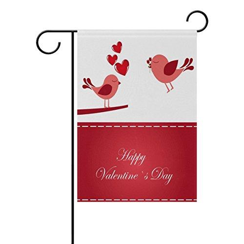 WIHVE Happy Valentine's Day Heart Love Bird Garden Flag Banner 12 x 18 Inch for Anniversary Seasonal Home Outdoor Garden Decor - Double Sided