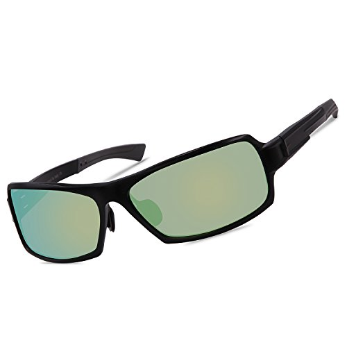 para Polarized Amarillo Metal Hombre Rectangular de 9019 Wrap REVO Duco Sol Gafas Unbreakable Frame Mujer Negro aYwq1AA