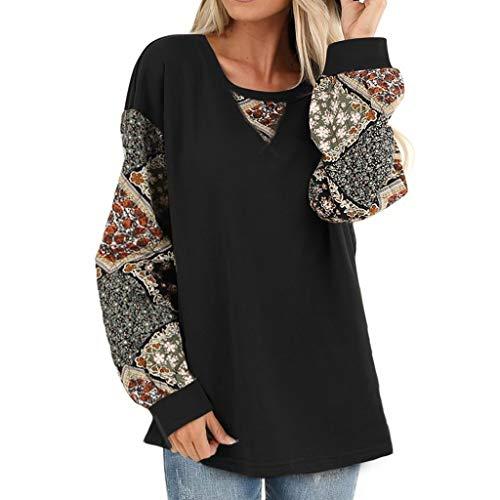 Yoyorule Women Casual Boho Print Shirt Splice Long Sleeve Blouse Round Neck Loose Tops Loose Comfortable Pullover Sweatshirt