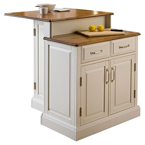 Charming Two-Tier Kitchen Island, 2 Adjustable Shelves, 2 Storage Drawers, 2 Countertops, Ample Storage and Preparation Space, Magnetic Push Latches, Honey Oak Top and Nickel (Honey Oak 2 Door Cabinet)