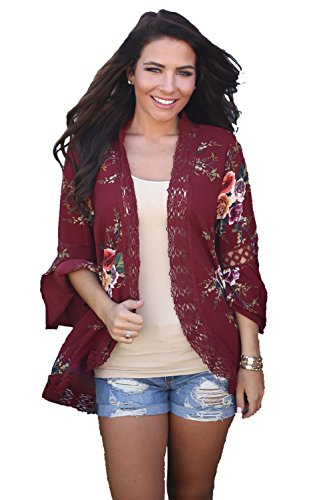 Longwu Women's Boho 3/4 Sleeve Lace Wrap Kimono Cardigans Casual Coverup Coat Tops Outwear Red-S