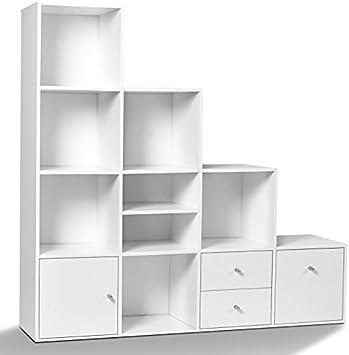 IDMarket – Mueble de escalera (4 niveles, imitación a madera de haya, con puerta y cajones): Amazon.es: Bricolaje y herramientas