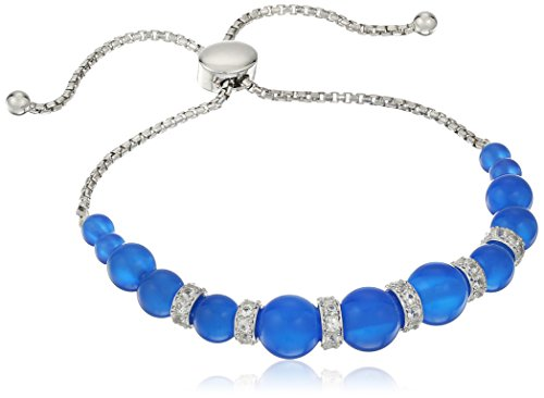 Rhodium Plated Sterling Silver Pearl Shape Genuine Dyed Blue Chalcedony and Created White Sapphire Bolo Adjustable Bracelet