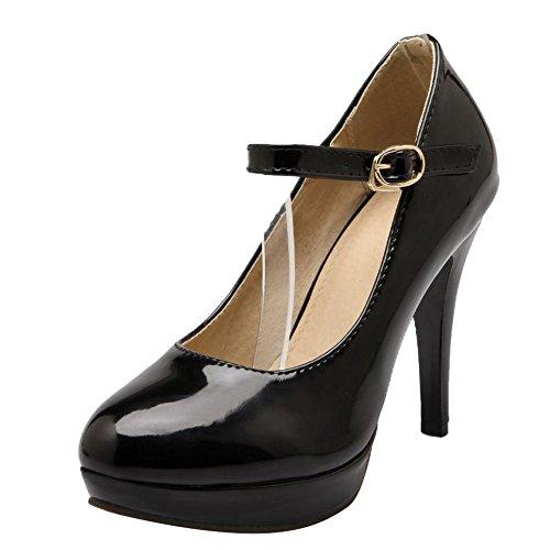 Carol Shoes Women's Elegant Single Color Stiletto High Heel Mary Jane Shoes Black qGbaU