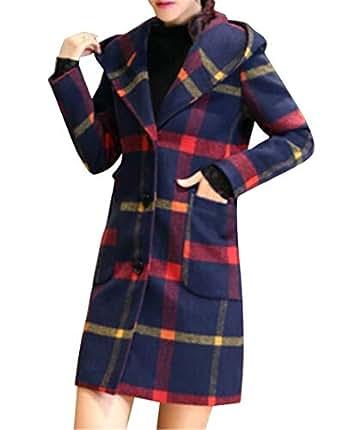 Amazon.com: XTX Women Winter Warm Check Hoodie Wool Wlend