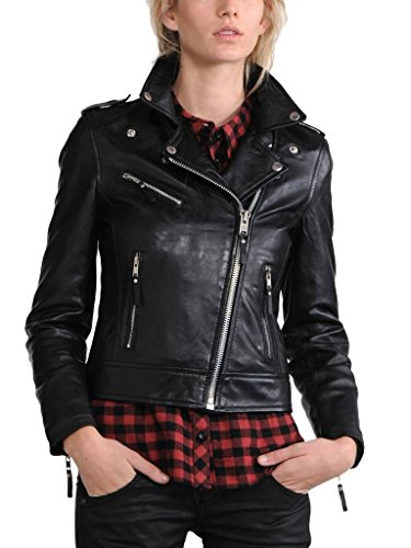 Negro Mujer Chaqueta Junction Para Leather faCIFI