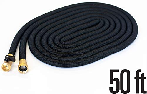 Amazing Stretch 50FT Expandable Garden Hose Heavy Duty, Extra Strength Durable Lightweight No-Kink Flexible Water Hose, 3/4' Solid Brass Fittings + Free Storage Bag - Black