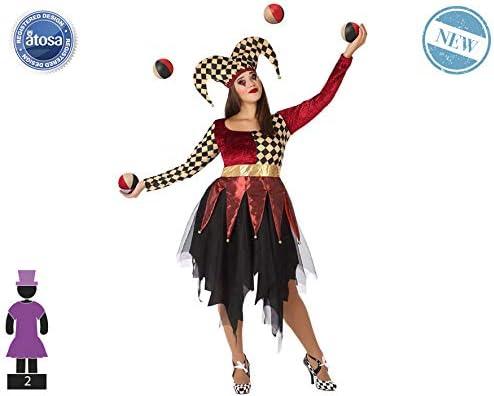 Atosa-61560 Atosa-61560-Disfraz Arlequin-Adulto Mujer, Color rojo, XL (61560
