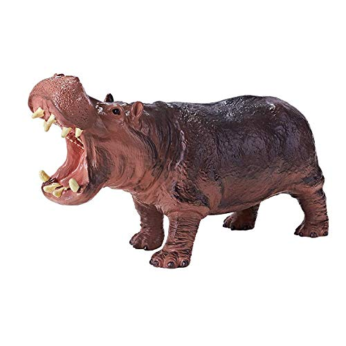 RECUR Toys Hippo River Horse Wild Animal Hippopotamus Figure Action Soft PVC Delicate Model Plastic Toy Doll Replica 1:15 Scale Behemoth Realistic Design Toy for Kids