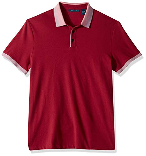 Perry Ellis Men's Ombre Collar Short Sleeve Polo Shirt, Rhododendron, Medium