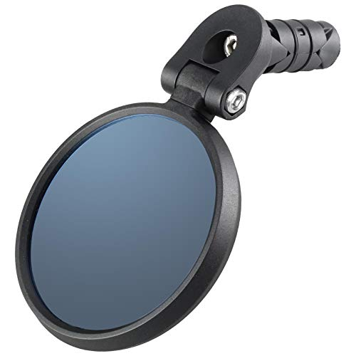 Venzo Bicycle Bike Accessories Handlebar End Mount Mirror Blue Lens 75% Anti-Glare Glass - Great for Road or Mountain Rear View Left