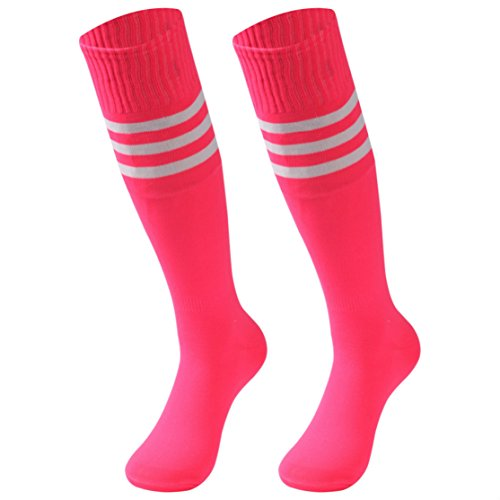 saounisi Pink Tube Socks, Women Knee High Stripe Volleyball Team Socks 2 -