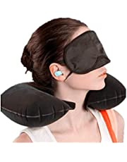 Travel Pillow, Inflatable Travel and Neck Pillow for Head and Neck, Washable Portable Air Travel Set with Ear Plugs, Eye Mask