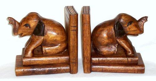 2 Buchstützen mit Elefanten sitzend Akazienholz handgeschnitzt Profi Produkte Vertrieb