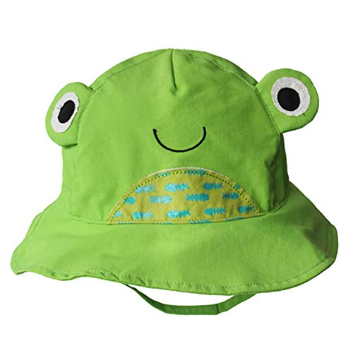 (Cotton Breathable Animal Anti UV Sun Protection Bucket Hat with Chin Strap Summer Outdoor Cap for Kids Toddler Baby Girls Boys(Green Frog,)
