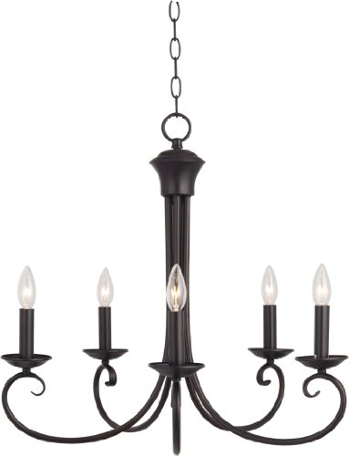 Maxim 70005OI Loft 5-Light Chandelier, Oil Rubbed Bronze Finish, Glass, CA Incandescent Incandescent Bulb , 60W Max., Wet Safety Rating, Standard Dimmable, Glass Shade Material, 672 Rated Lumens by Maxim Lighting