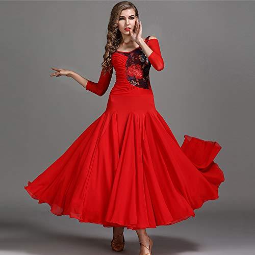 Size Del Concorso Latino Nuovo Large Costume Sociale Gonna Qmkj Valzer 2018 Xl Stampe Floreale Danza Rosso Petto Ventre Stile Voluminoso 2xl Latina nOZZHwx