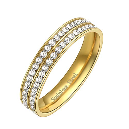Lavencious Two Row Eternity Stainless Steel Wedding Band 4mm Width Engagement Ring Size 4 to 12 (Gold, 5) ()