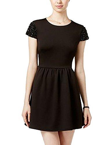 Bee Darlin B Darlin Juniors' Embellished Scuba Fit & Flare Dress. Size: 13/14. Black