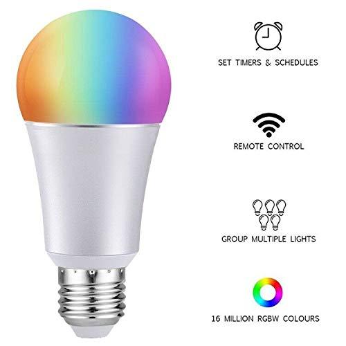 Wifi Smart Birne, PUNDA Mehrfarbige LED Dimmbare Lampe 7W RGB Glü hbirne, Smartphone aktualisiert Tageslicht & Nachtlicht, Arbeitet mit Alexa und Google Home Fernbedienung von IOS & Android (7w-E27)