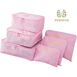 Pack of 6 Waterproof Packing Pouch Packing Cubes Compression Travel Luggage Organizer Clothe Storage Bag Travel Pouch Laundry Bag (Pink)