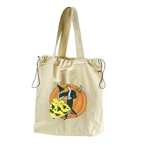 Dancing Couple And Pumpkin Canvas Drawstring Beach Tote Bag by Style in Print