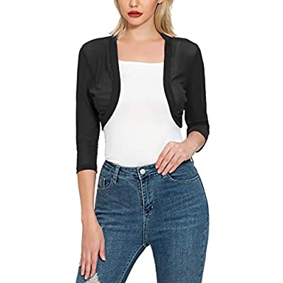 Tandisk Women's 3/4 Sleeve Bolero Sheer Chiffon Shrug Cardigan at Women's Clothing store