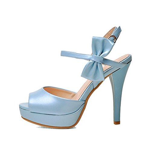Des Femmes Toe Peep talons Aiguilles Pointes Bleus Souple Allhqfashion Boucle Matériau Sandales wqRCIxCtp