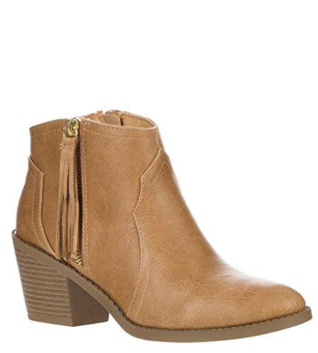Forever Womens Buckle Strap Block Heel Ankle Booties Blonde Tassel
