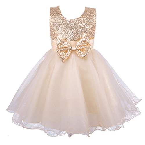 Colorful House Girls' Gold Sequined Formal Wedding Bridesmaid Party Dress (3-4 Years) -