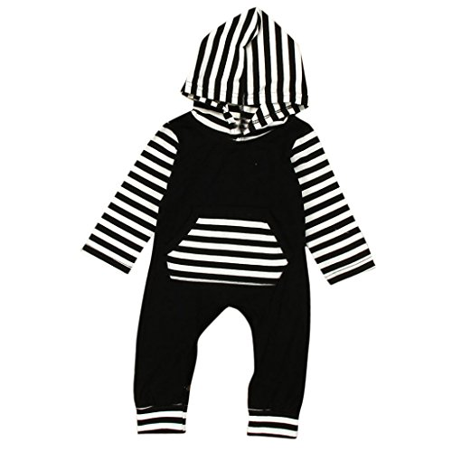 LUNIWEI Baby Boy Girl Clothes Long Sleeve Striped Hooded Romper Jumpsuit (3-6 Months, Black)