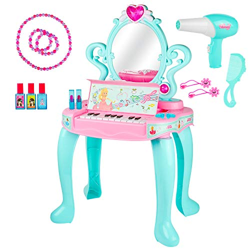 Kiddie Play Pretend Play Kids Vanity Table and Beauty Play Set with Piano and Fashion Makeup Accessories for Girls