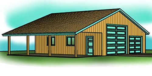 28' by 36' garage plan - 13' Ceiling , Attached Carport or Porch