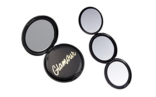 Onyx Professional 3-in-1 Folding Compact Magnifying Mirror - 1x, 2x, 5x Magnification, Purses, Handheld Travel & More (Compact 5x Mirror Magnifying)