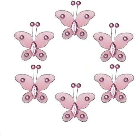 Butterfly Decor 2 Pink Mini X-Small Bead Nylon Mesh Butterflies 6 Piece Decorations Set Decorate Baby Nursery Bedroom Girls Room Wall Wedding Birthday Party Bridal Shower Craft Scrapbook Invitation