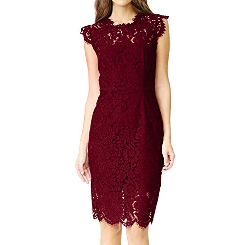FengGa Women Lace Dresses Formal Lace Bow-Knot Sleeve Chiffon Prom Slim Fit Evening Party Bridesmsid Dress Wine Red