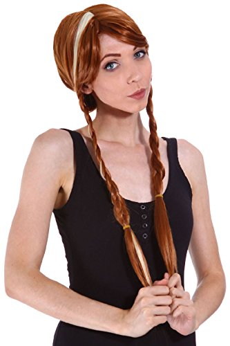 Frozen Princess Anna Halloween Cosplay Party Gold Braided Wig Costume