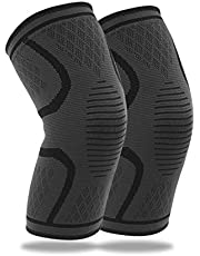 TECHVIDA Knee Brace Support Compression Sleeves, knee sleeves, Knee cover, Knee Supporter for Running, Pain Relief (L-1 Pair)