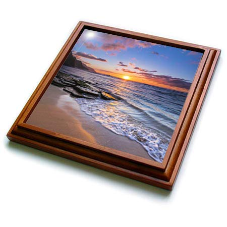 3dRose Danita Delimont - Seascapes - Sunset over the Na Pali Coast. Haena State Park, Kauai, Hawaii, USA - 8x8 Trivet with 6x6 ceramic tile (trv_314808_1)