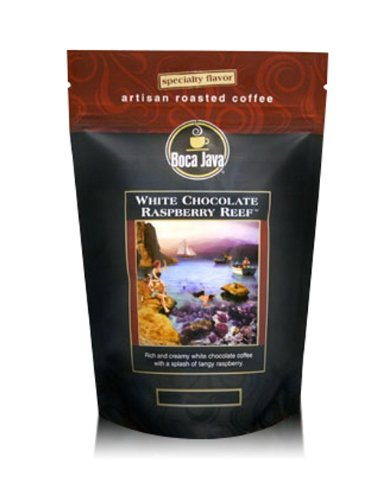 Boca Java Roast to Order, White Chocolate Raspberry Reef, Decaf Ground, Flavored Coffee, 8 oz. bags (Pack of 2)