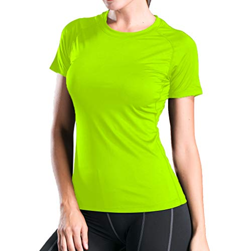Sunhusing Women Solid Color Round Neck Short-Sleeve T-Shirt Sports Running Fitness Tight-Fitting Yoga Tops Green